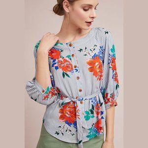 Maeve blue stripe floral Lilorne off shoulder top